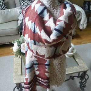 GORGEOUS Wool BLEND Blanket SCARF Wrap By MADEWELL